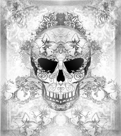 dia de los muertos: Day of The Dead, Skull with floral ornament