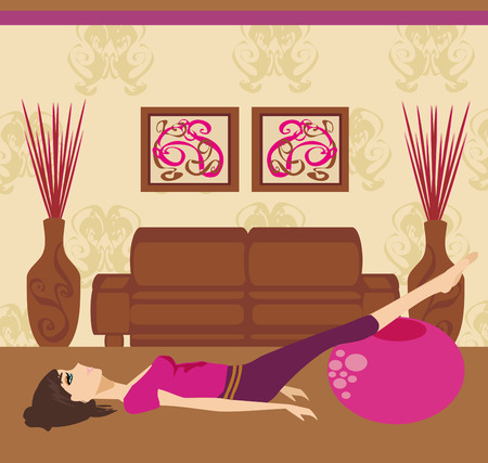 lie down: pilates at home  Illustration