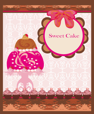 card with sweet  cake  Vector