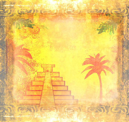 Mayan Pyramid, Chichen-Itza, Mexico - grunge abstract background  photo
