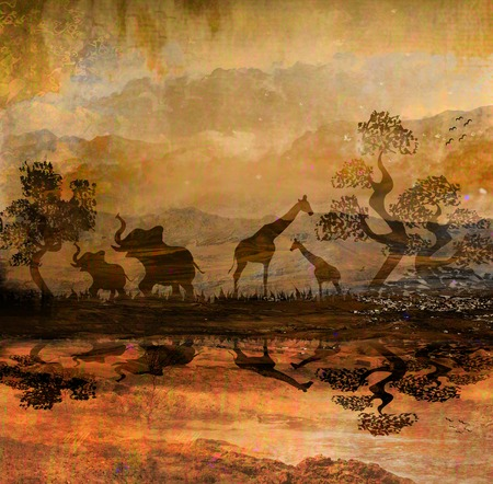 Safari in Africa silhouette of wild animals reflection in water  photo
