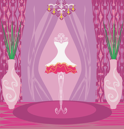 boutique display: beautiful dress on a mannequin in elegant boutique  Illustration