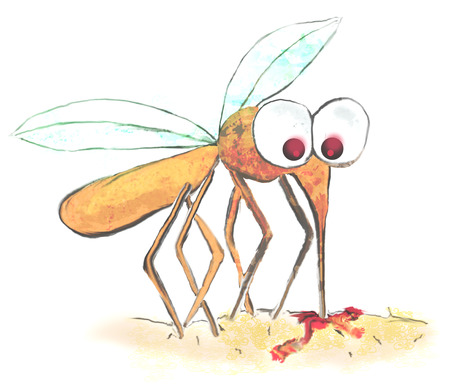 dengue fever: funny illustration of a mosquito Stock Photo