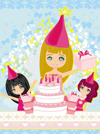 kids celebrating a birthday party  Vector