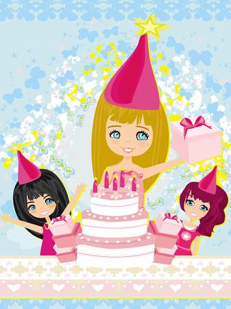 kids birthday party: kids celebrating a birthday party  Illustration