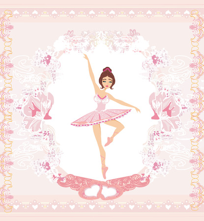 Beautiful ballerina - abstract card with pink ornaments  Vector