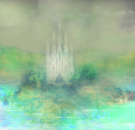 abstract landscape with old castle  photo