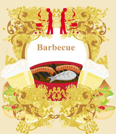 Vintage Barbecue Party Invitation  Vector