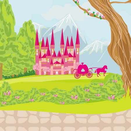 beautiful fairytale pink castle  Vector