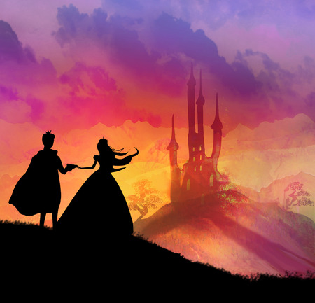 fantasy landscape: Magic castle and princess with prince