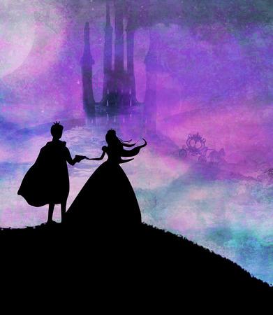 Magisches Schloss und Prinzessin mit Prinz Standard-Bild - 29429816