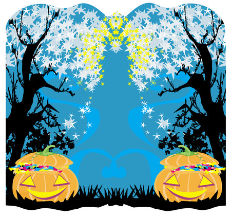 ghostly: halloween invitation, pumpkins full of candy Illustration