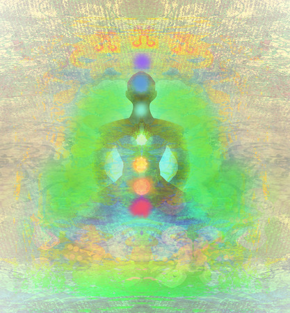 Yoga Lotussitz. Padmasana mit farbigen Chakra Punkte. Standard-Bild - 29611913