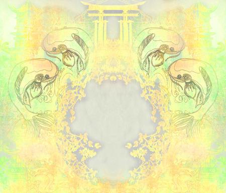 coi carp: japanese koi vintage frame