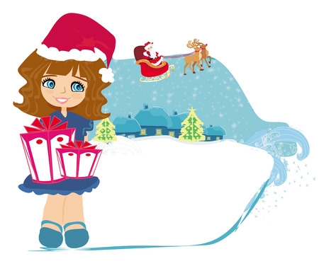 Happy little girl holding a gift from Santa Claus  Vector
