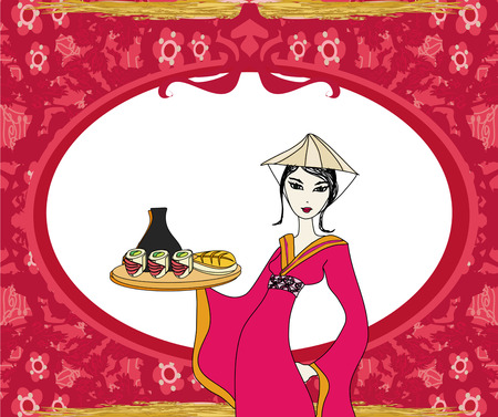Abstract frame with sushi and geisha  Vector