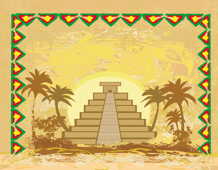 Mayan Pyramid in Chichen-Itza, Mexico - grunge abstract background  Vector