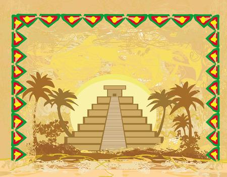 cripta: Piramide Maya di Chichen-Itza, Messico - grunge sfondo astratto
