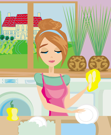 housewife washing the dishes Vector