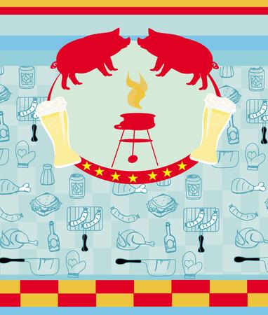 pig roast: Vintage Barbecue Party Invitation