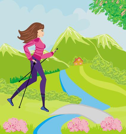 mujer ejercitandose: Nordic walking - mujer activa ejercicio al aire libre