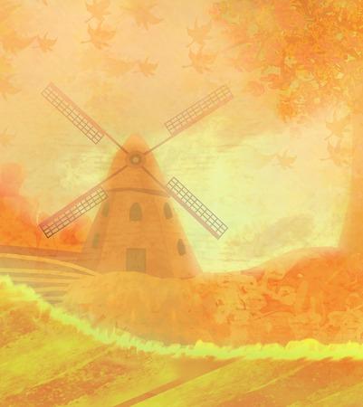 Autumn landscape with windmill.  photo