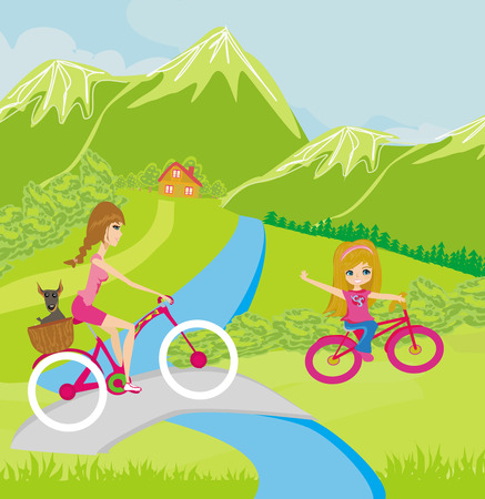 Mother and daughter biking in the park  Vector