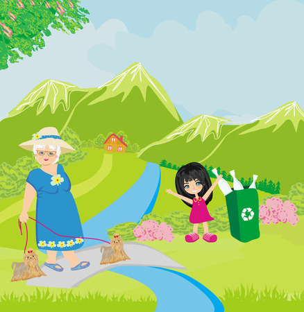Mother and daughter walk in the mountains Vector