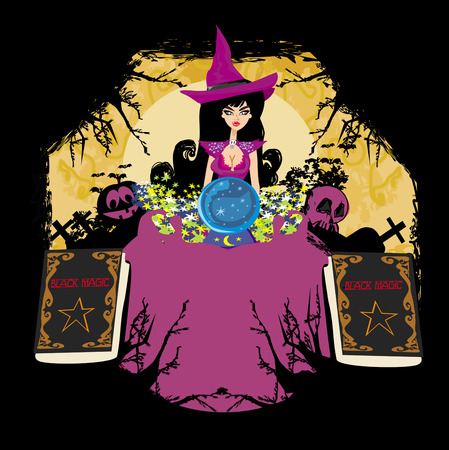 parapsychology: witch with crystal ball - abstract frame for halloween