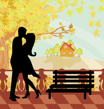 kissing couple in autumn day  Vector