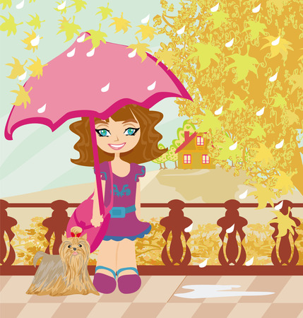 Girl walk in autumn day Vector