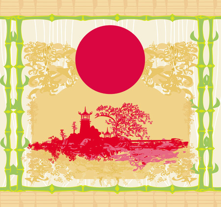 Abstract card with Asian buildings, vintege frame  Vector