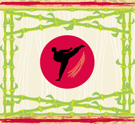 karate - abstract card, bamboo frame Vector