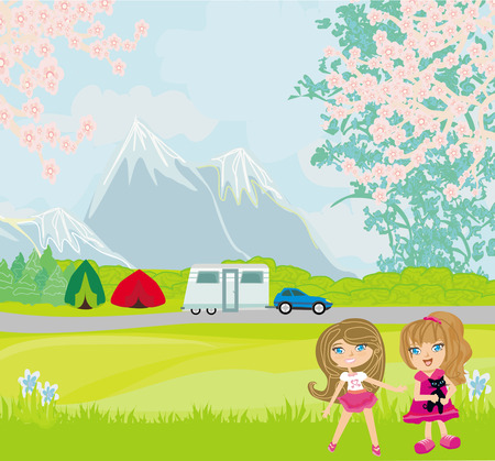 Girls camping in the mountains Vector