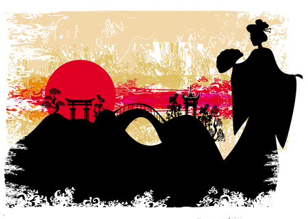 grunge abstract landscape with Asian girl  Vector