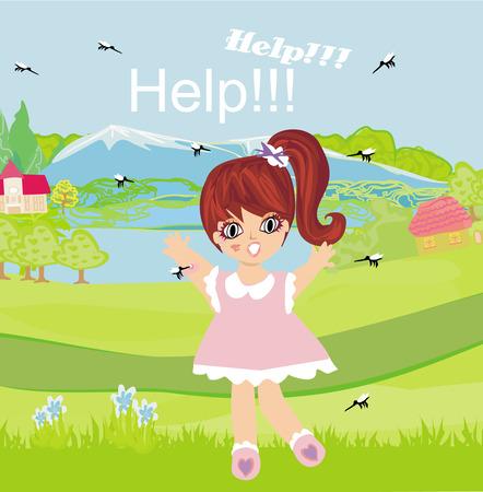 gnat: girl runs away from mosquitoes