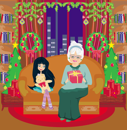 granddaughter: grandmother and granddaughter - Christmas at home
