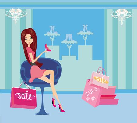foot gear:  Fashion girl shopping in shoe shop