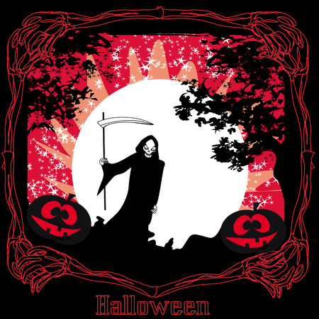 scary grim reaper in the light of the moon  Vector