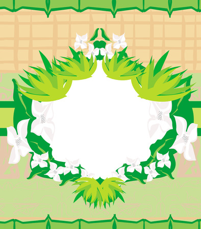 bamboo and plum blossom frame Vector