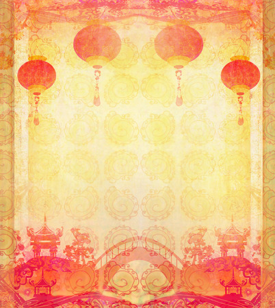 Chinese New Year card - Traditional lanterns and Asian buildings  photo