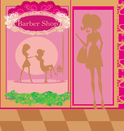 hairdressing salon: illustration of the beautiful woman in hairdressing salon  Illustration