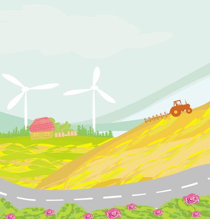 plowing: farmer plowing the field