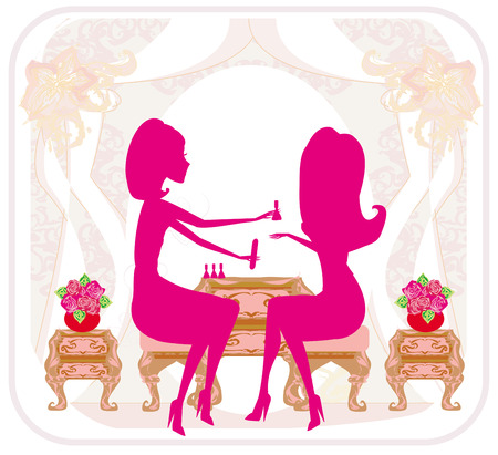 lady doing manicure in beauty salon , abstract card Vector