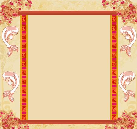 japanese koi vintage frame  Vector