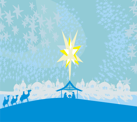 Biblical scene - birth of Jesus in Bethlehem.  Vector