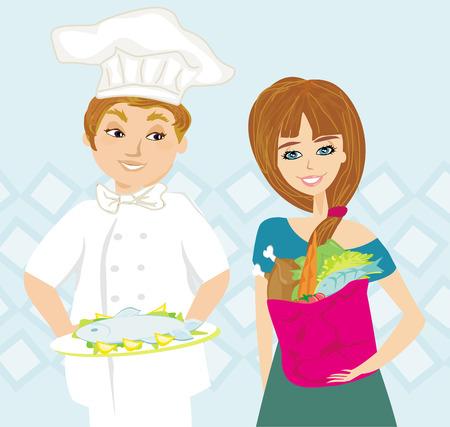 tomato cartoon: chef offers a dish