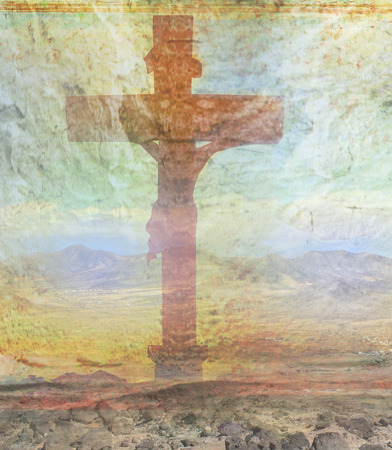 golgotha: Jesus Christ crucified , grunge background