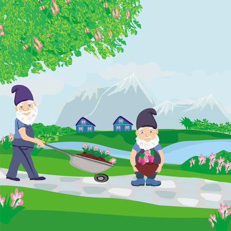 two dwarfs gardeners Vector