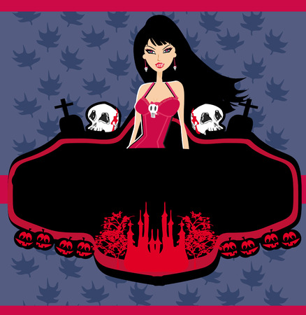 halloween invitation with beautiful witch beautiful female vampire Vector